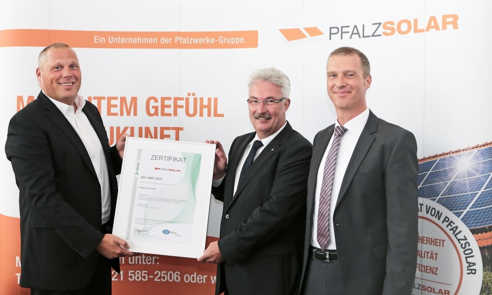 Pfalzsolar Certification ISO 14001 and 9001